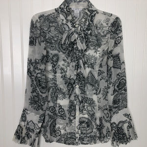 Cabi Sheer Blouse with Pleated Ruffles Sz M